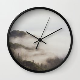 Fog in the forest Wall Clock