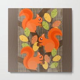 Three Squirrels In A Tree Metal Print