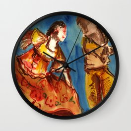 Watercolor Folklore dance Carimbo - joy and fun Wall Clock