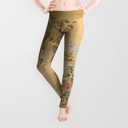 Japanese Edo Period Six-Panel Gold Leaf Screen - Spring and Autumn Flowers Leggings