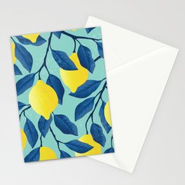 Vintage yellow lemon on the branches with leaves and blue sky hand drawn illustration pattern Stationery Cards