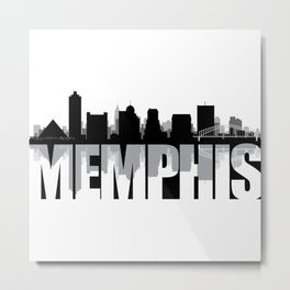 Memphis Silhouette Skyline Metal Print