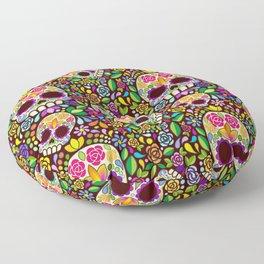 Sugar Skull Floral Naif Art Mexican Calaveras Floor Pillow
