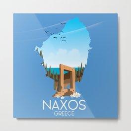 Naxos Greek travel poster. Metal Print