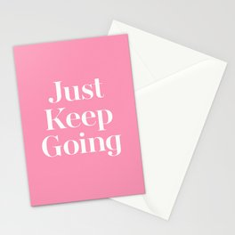 Just Keep Going Vintage Pink Quote Typography Stationery Cards