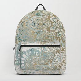 Yoga, Mandala, Teal and Gold, Wall Art Boho Backpack