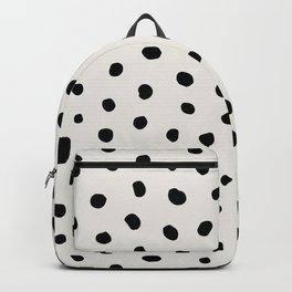 Modern Polka Dots Black on Light Gray Backpack