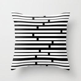Bricks White on Black Throw Pillow