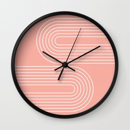 Geometric Lines in Rose Gold (Rainbow Abstraction) Wall Clock