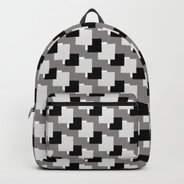 Black, Grey and White Abstract Squares Pattern Backpack