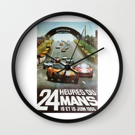 1966 Le Mans poster, Race poster, car poster, garage poster Wall Clock