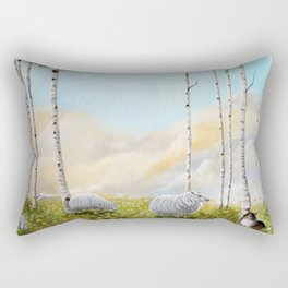 Afternoon on the Hill Birch Tree Painting Rectangular Pillow