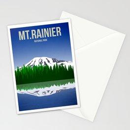 Mt Rainier National Park - Travel Poster -  Minimalist Art Print Stationery Cards