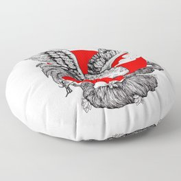 Japanese Red crowned Crane Floor Pillow