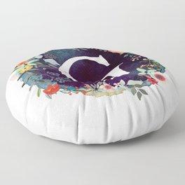 Personalized Monogram Initial Letter G Floral Wreath Artwork Floor Pillow