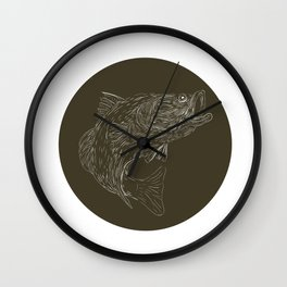 Largemouth Bass Scratchboard Wall Clock