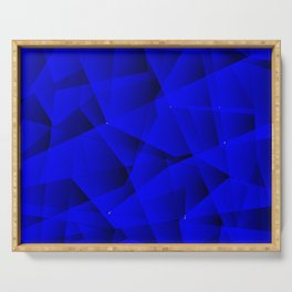 Repetitive overlapping sheets of gloomy blue paper triangles. Serving Tray
