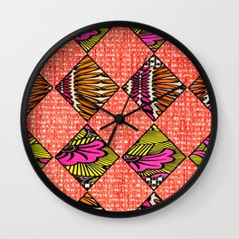 Pink Pastel African Print Wall Clock