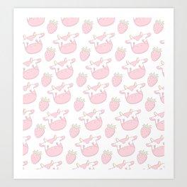 Strawberry Cow Art Print