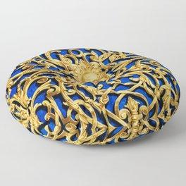 Elegant Antique Gold Botanical Pattern Floor Pillow