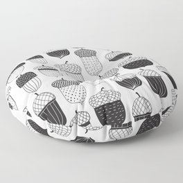 Doodle acorns in black and white Floor Pillow