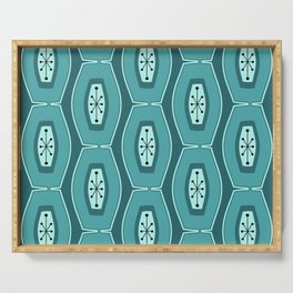 Midcentury Funky Chain Pattern Teal Serving Tray