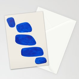 Minimalist Modern Mid Century Colorful Abstract Shapes Phthalo Blue Native Pebbles Stacked Stationery Cards