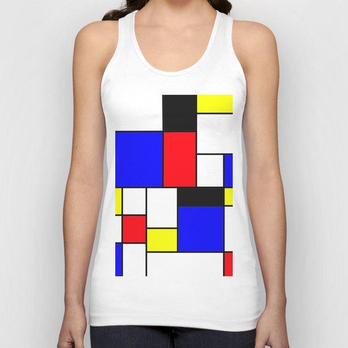 Red Blue Yellow Geometric Squares Unisex Tanktop