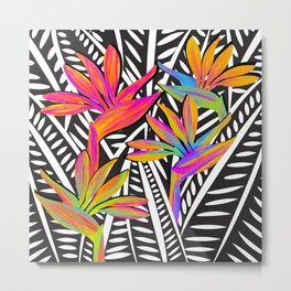 Taro Patch Design Bird of Paradise and Leaves Metal Print
