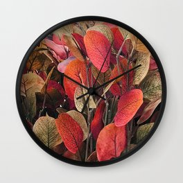 Autumn Leaves in Rustic Red And Fall Colors Wall Clock