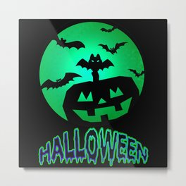 Pumpkin With Bats On Halloween Metal Print