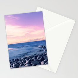 Pastel sunset beach with pier Stationery Cards