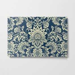 damask in white and blue vintage Metal Print