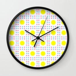 new polka dot 10 - Pink, blue and yellow Wall Clock