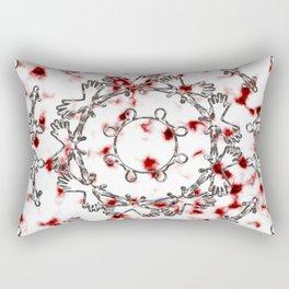 Alien Mandala Silver and Red Plasma Rectangular Pillow