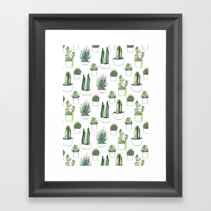Watercolour Cacti & Succulents Gerahmter Kunstdruck