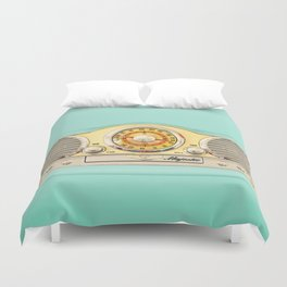 Blue teal Classic Old vintage Radio Duvet Cover