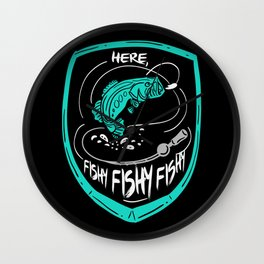 Here, Fishy Fishy Fishy | Fishing Wall Clock