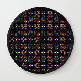 Kente Cloth Ankara Stained Glass Pattern Wall Clock