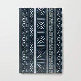 mud cloth indigo Metal Print