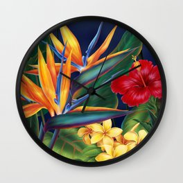 Tropical Paradise Hawaiian Floral Illustration Wall Clock