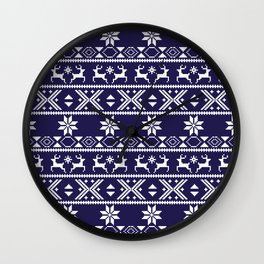 Fair Isle Blue  #Christmas Wall Clock