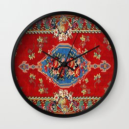 Bijar Silk Kilim  Antique Kurdish Persian Rug Print Wall Clock