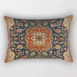 Central Persia 19th Century Authentic Colorful Dark Blue Red Tan Vintage Patterns Rectangular Pillow