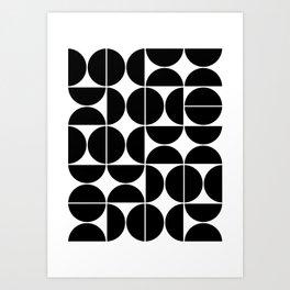 Mid Century Modern Geometric 04 Black Kunstdrucke