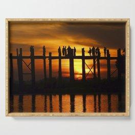 Sunset at U Bein Bridge, Myanmar Serving Tray