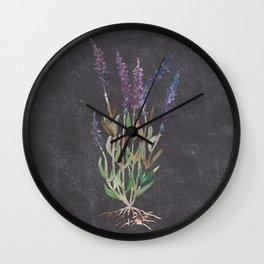 Lavandula dark blackground Wall Clock
