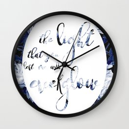 everglow, positive vibes, calligraphy typography Wall Clock