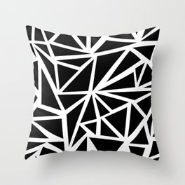 SHARDS PATTERN BLACK AND WHITE Throw Pillow