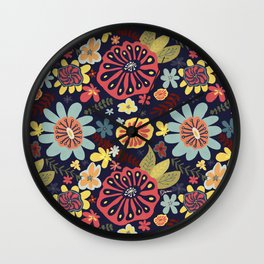 Playful Flowers with Red Leaves Wall Clock